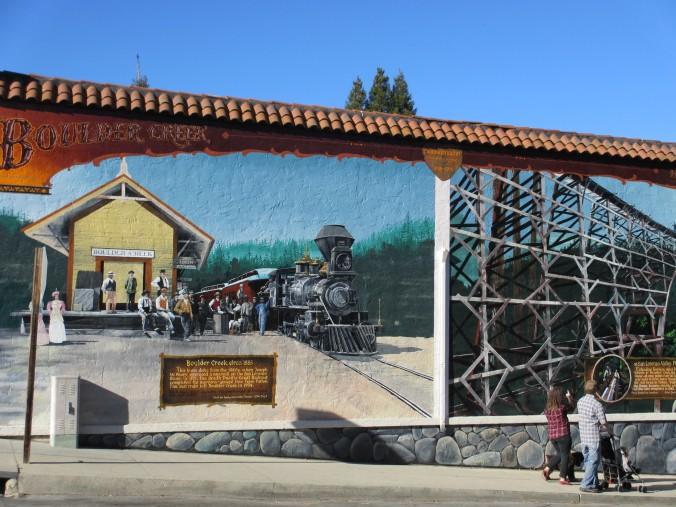 Mural depicting history of Boulder Creek, California
