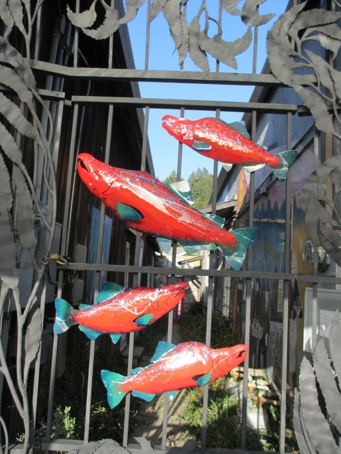 Fish sculpture, downtown Boulder Creek, California